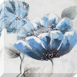 'Blue Poppy' Oil Painted Canvas Wall Art