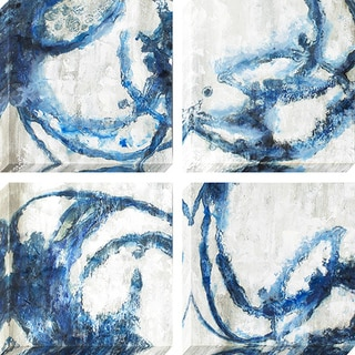 Decor Therapy 'Indigo Rings' Oil Painted Canvas (Pack of 4)