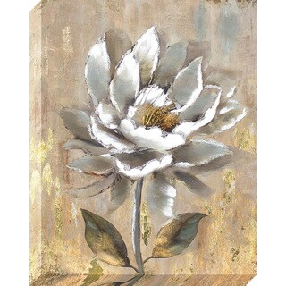 Aged White Flower Oil Painted Canvas Wall Art