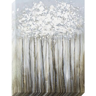 Decor Therapy Silver Foliage Metallic Oil-painted Canvas Wall Art