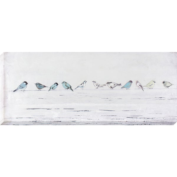 Wall Art 3 Line Of Birds : Decor therapy birds in a line oil painted canvas wall art