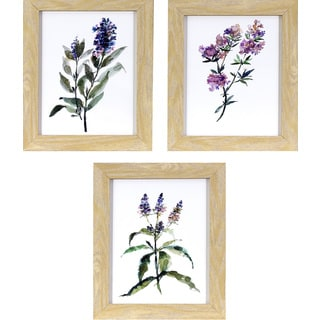 Decor Therapy 'Lavender Wildflowers' Natural Oak Woodgrain-finish Framed Wall Art (Pack of 3)