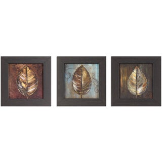 Decor Therpay 'Painted Leaves' Black and Gold-tone Woodgrain Framed Art (Pack of 3)