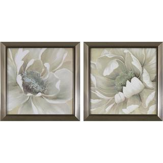 Decor Therapy Antiqued White Flowers in Stainless Steel Finish Plastic Frame Wall Art (Set of 2)