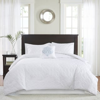 Madison Park Mansfield Quilted King Size Comforter Set in White (As Is Item)