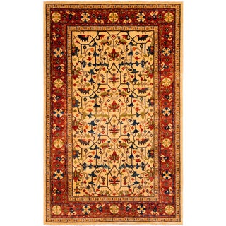 Awareness Hand-knotted Wool Ivory Oriental Rug (5' x 8') (Afghanistan)