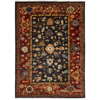 Eminence Hand-knotted Wool Red Oriental Rug (5' x 7') (Afghanistan)