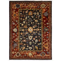 Handmade Eminence Hand-knotted Wool Red Oriental Rug - 5' x 7' (Afghanistan)