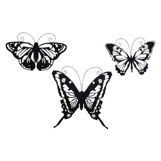 Benzara Metal 16-inch, 17-inch, and 19-inch Butterfly (Pack of 3)