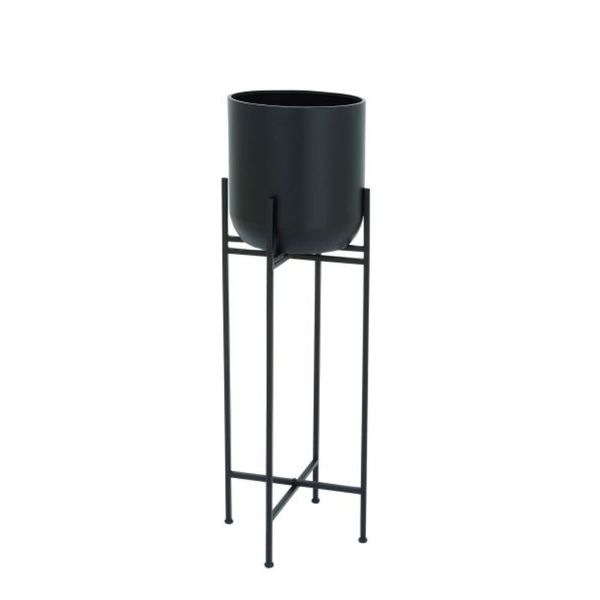 Benzara Black Metal Floor Planter