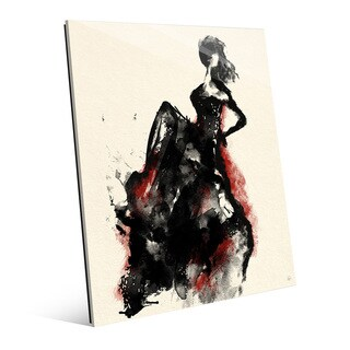 Woman in Dress Red Accent Glass Wall Art Print (2 options available)