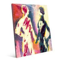 'Couple Figures - Dusk' Glass Wall Art Print