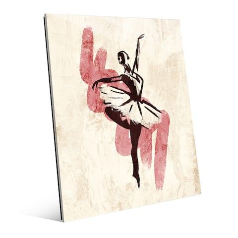 'Gestural Ballerina - Pink' Glass Wall Art Print