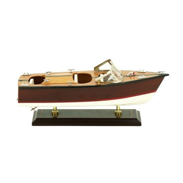 Benzara Red and Brown Wood 13-inch Wide x 5-inch High Yacht