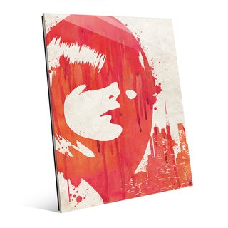 Drippy City Girl Red Glass Wall Art Print