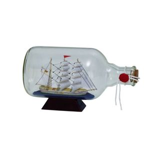 Benzara Glass 11-inch Wide x 6-inch High Ship In a Bottle
