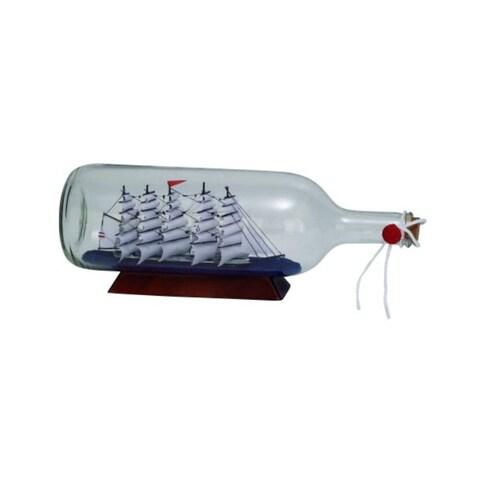 Havenside Home Buckroe Clear Glass 'Ship In A Bottle' Decor