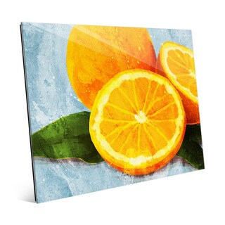 'Painted Oranges on Blue' Glass Wall Art Print