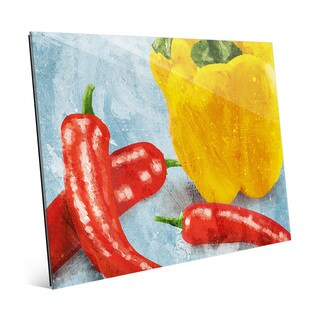 'Painted Peppers on Blue' Glass Wall Art Print