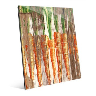 'Row of Carrots' Planked Wood Glass Wall Art