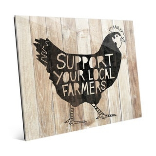 'Local Farmers Chicken - Light Wood' Glass Wall Art