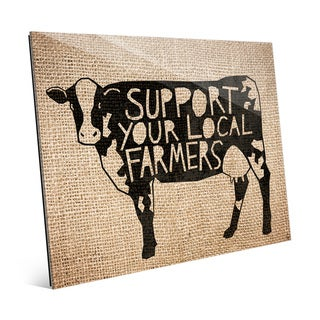 Local Farmers Cow Burlap Print on Glass Wall Art