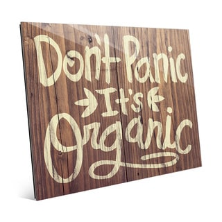 'Don't Panic It's Organic' Glass Wood Wall Art