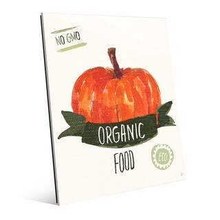 'Organic Food Pumpkin' Green Glass Wall Art Print