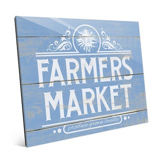 Farmers Market Sign Blue Glass Wall Art Print