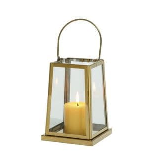 Benzara Goldtone Stainless Steel and Glass 12-inch Lantern