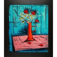 Atelier De Jiel 'Daisies and Poppies' Fine Art Print on Canvas - Black