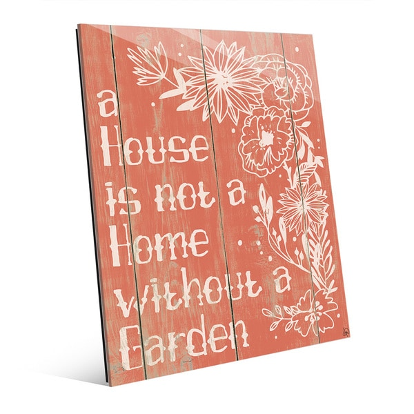 'Home With a Garden' Wall Art Print on Glass