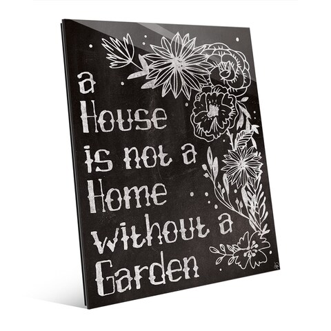 Home With a Garden Chalkboard Glass Wall Art