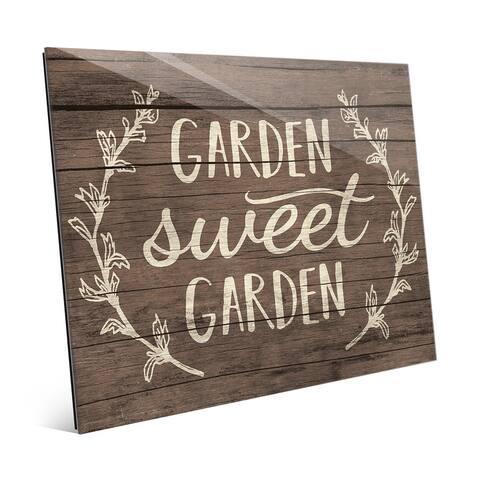 'Garden Sweet Garden' Rustic Wood Wall Art on Glass