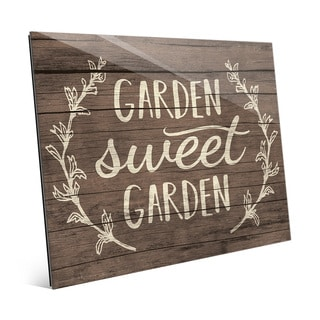 'Garden Sweet Garden' Rustic Wood Wall Art on Glass
