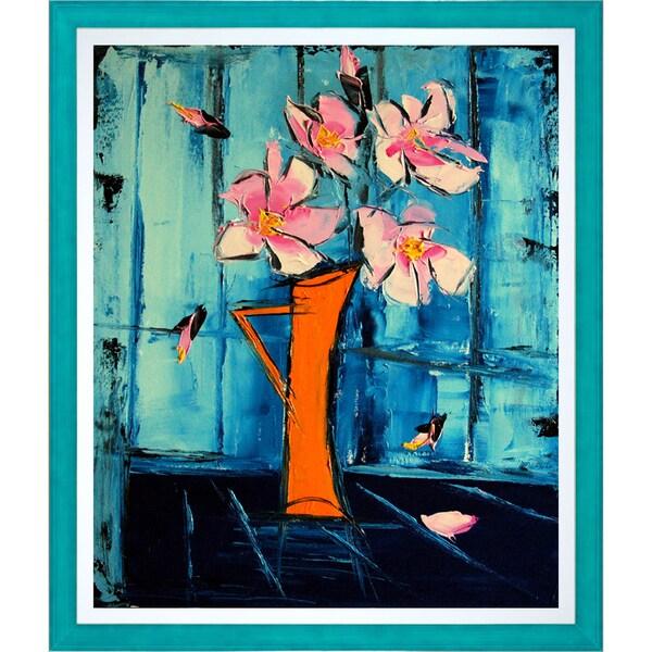 Atelier De Jiel 'Flowers on Blue Background' Fine Art Print on Canvas
