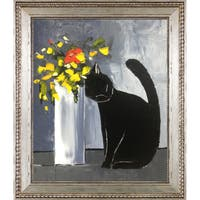 Atelier De Jiel 'Black Cat and his Flowers' Fine Art Print on Canvas