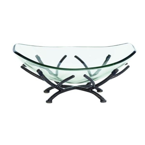 Metal Glass Decorative Bowl