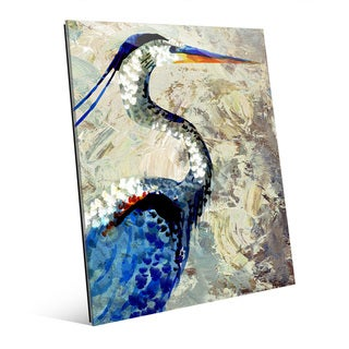 'Painted Crane' Glass Wall Art Print