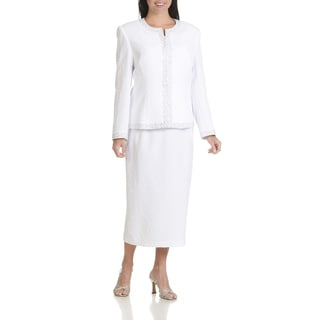 Ella Belle Women's Textured Rhinestone Trim Three-piece Skirt Suit