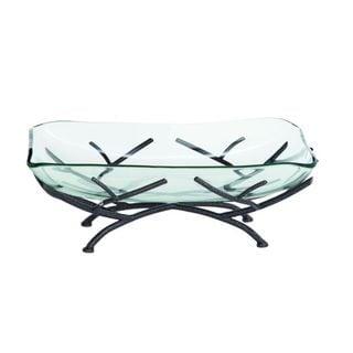 Benzara Black/Clear Metal/Glass Decorative Bowl