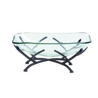 Benzara Metal and Glass High Bowl