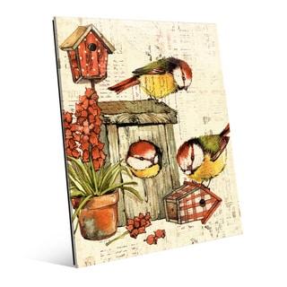 Garden Birdhouse Orange Glass Wall Art Print