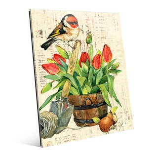 Garden Bird and Red Tulips Wall Art Print on Glass