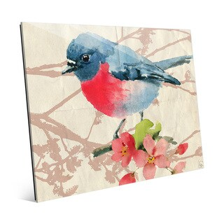 'Pink Robin Pink Flowers' Glass Wall Art Print