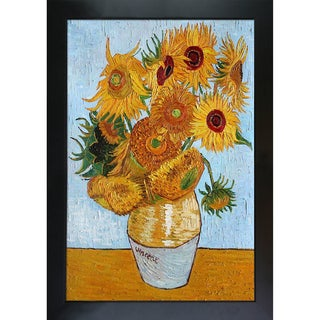 Vincent Van Gogh 'Sunflowers' Hand Painted Framed Oil Reproduction on Canvas