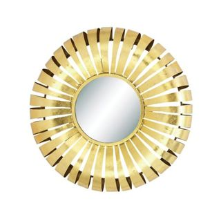 Benzara Gold-tone Metal and Glass 32-inch Diameter Wall Mirror