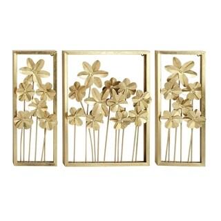Benzara Gold-tone Metal Floral Wall Decor (Set of 3)