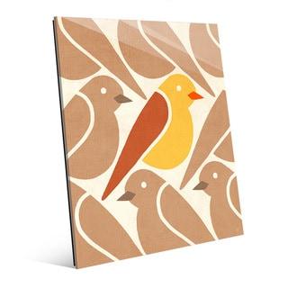 'Birds Birds Birds Yellow' Glass Wall Art Print