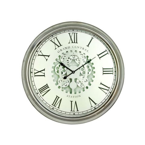Studio 350 Metal Silver Wall Clock 24 inches D
